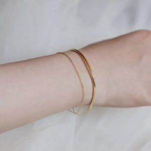 NEW Gold Semi Circular Multi Layer Chain Bracelet